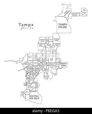 Tampa Florida Map.Modern City Map Tampa Florida City Of The Usa With Neighborhoods