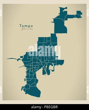 Map Of Tampa Florida.Modern City Map Tampa Florida City Of The Usa With Neighborhoods