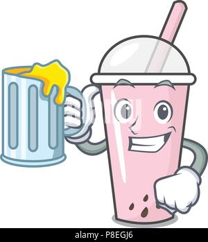 With juice raspberry bubble tea character cartoon - Stock Photo
