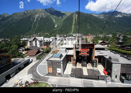 Valley station of the cable car heading for the peak of the Aiguille-du-Midi in the Mont Blanc massif, Chamonix, Haute Savoie, France - Stock Photo