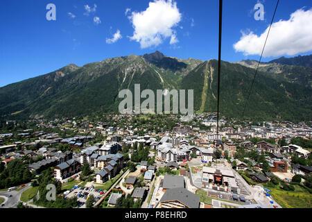 Chamonix, Haute Savoie, France, seen from the Aiguille-du-Midi cable car - Stock Photo