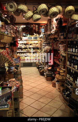 Traditional food store for tourists and locals in Annecy, Haute Savoie, France - Stock Photo