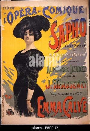 Emma Calvé as Fanny Legrand. Poster for the premiere of opéra-comique Sapho by Massenet performed on 27 November 1897 by the Opé. Museum: PRIVATE COLLECTION. - Stock Photo