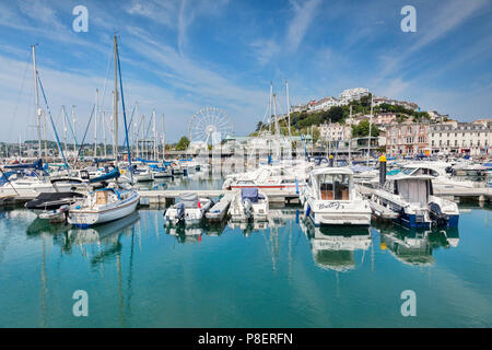21 May 2018: Torquay, Devon, England, UK - The marina and town on a sunny spring day. - Stock Photo