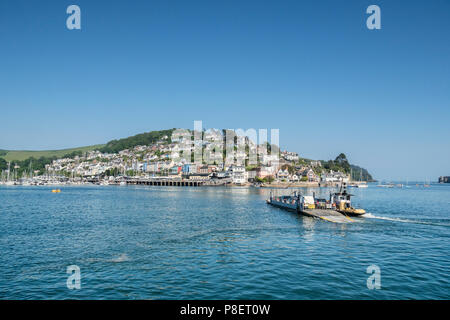 23 May 2018: Dartmouth, Devon, UK - The Lower Ferry, crossing the River Dart to Kingswear. Tug which steers it across can be seen alongside. - Stock Photo