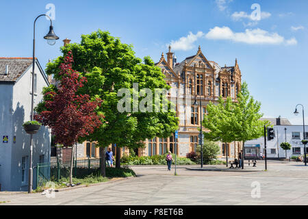 28 May 2018: Newton Abbot, Devon, UK - The ornate library on a beautiful spring day, with trees in full leaf. - Stock Photo
