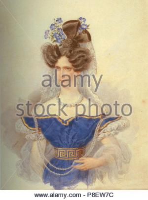 Portrait of Empress Alexandra Fyodorovna (Charlotte of Prussia), Emperor's Nicholas I. wife (1798-1860). Museum: State Hermitage, St. Petersburg. - Stock Photo