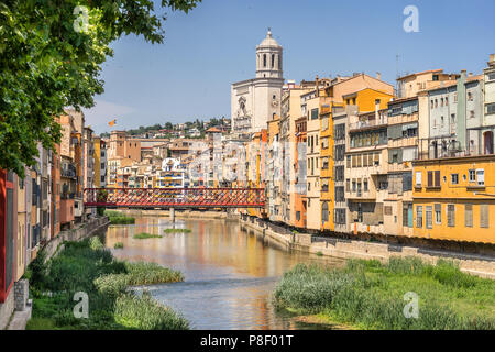 Looking down the River Onyar to the colorful houses in Girona Catalonia - Stock Photo