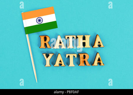 Flag of India and the text of Ratha yatra. The return journey of Puri Jagannath Ratha Jatra is known as Bahuda Jatra - Stock Photo