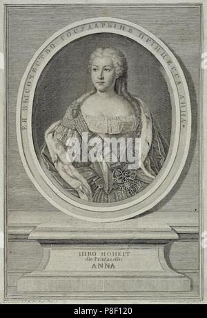 Portrait of Princess Anna Leopoldovna (1718-1746), tsar's Ivan VI mother. Museum: State Hermitage, St. Petersburg. - Stock Photo