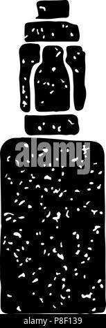 Black vintage emblem of electronic cigarette, isolated vector illustration - Stock Photo