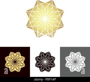 A set of ancient geometric linear figures, for decorating your own design. The vector illustration - Stock Photo