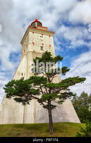 Large ancient lighthouse in Kopu, Hiiumaa island, Estonia. It is one of the oldest lighthouses in the world, having been in continuous use since its c - Stock Photo