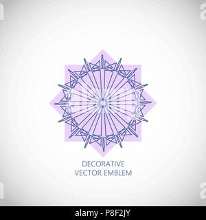 Geometrical ornament. Vector ornamental isolated flower figure - Stock Photo