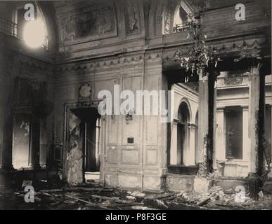 Dining room of the Winter Palace after the explosion, evening of February 17, 1880. Museum: Russian State Library, Moscow. - Stock Photo