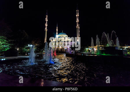 Evening view Akhmad Kadyrov Mosque, Grozny, Russia - Stock Photo