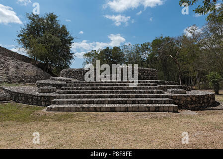 Ruins of the ancient Mayan city of Edzna near campeche, mexico. - Stock Photo