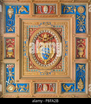 Pope Clement VIII Aldobrandini family coat of arms in the Basilica of Saint John Lateran in Rome. - Stock Photo
