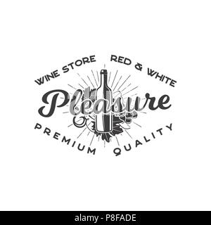 Wine shop logo template concept. Wine bottle, vine, sunbursts and typography design - Pleasure. Stock vector emblem for winery, wine shop logotype, store isolated on white background - Stock Photo