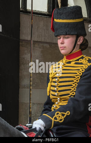 royal horse artillery horseback trooper or gunner closing eyes on parade at horseguards in london. - Stock Photo