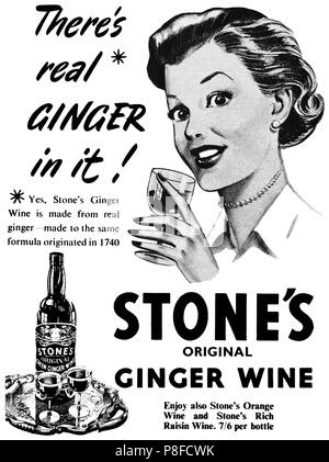 1953 British advertisement for Stone's Original Ginger Wine. - Stock Photo