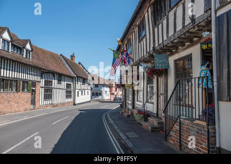 Timber framed buildings in Water Street Lavenham; a town noted for its 15th-century church and half-timbered medieval cottages. - Stock Photo