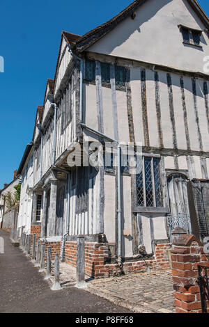 Shilling Old Grange, a timber framed building in Lavenham a town noted for its 15th-century church and half-timbered medieval cottages. - Stock Photo