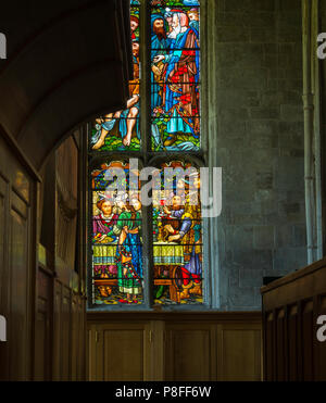Stained glass window inSt. Peter and St. Paul church in Lavenham a Grade I listed parish church. - Stock Photo