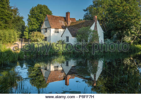 Willy Lott's Cottage at Flatford was featured in The Hay Wain, a painting by John Constable. - Stock Photo