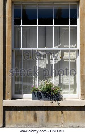 Traditional sash window, Bath, Somerset, England, UK - Stock Photo