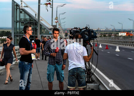 ROSTOV-ON-DON, RUSSIA - JUNE 17, 2018: Recording report during World Cup 2018 - Stock Photo