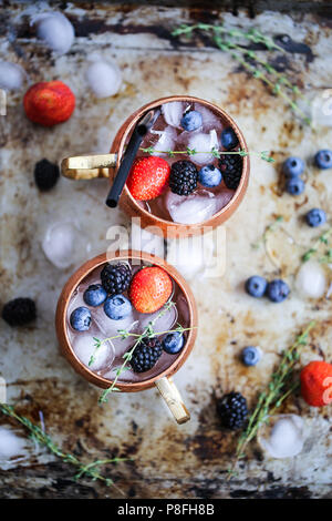 Summer berries moscow mule - Stock Photo
