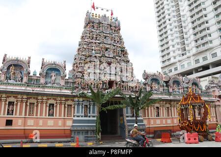 Sri Kandaswamy Kovil, Sri Lankan Tamil or Ceylonese Tamil Hindu temple on Jalan Scott in Little India, Brickfields, Kuala Lumpur, Malaysia. - Stock Photo