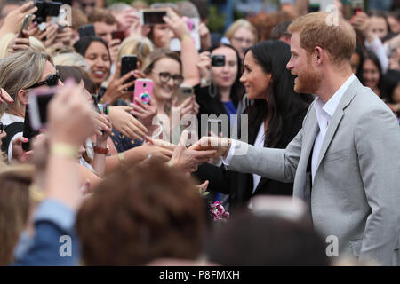 The Duke and Duchess of Sussex meet the public as they leave the EPIC Museum during their visit to Dublin, Ireland. - Stock Photo