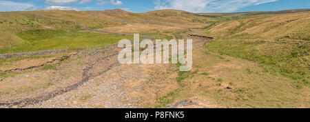 North Pennines AONB panoramic landscape, Flushiemere Beck, Newbiggin, Teesdale, UK - Stock Photo