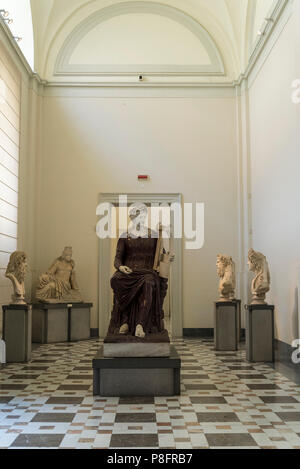 Statue of Apollo seated with a lyre, Farnese collection, National Archaeological Museum, Naples, Italy - Stock Photo