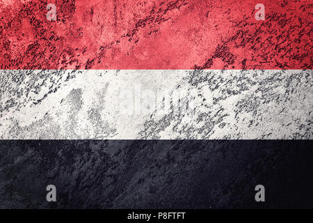 Grunge Yemen flag. Yemen flag with grunge texture. - Stock Photo