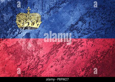 Grunge Liechtenstein flag. Liechtenstein flag with grunge texture. - Stock Photo