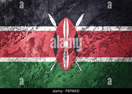 Grunge Kenya flag. Kenya flag with grunge texture. - Stock Photo