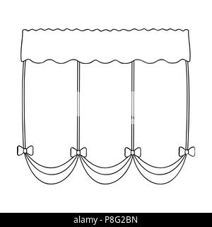 Curtains with drapery on the cornice.Curtains single icon in outline style vector symbol stock illustration . - Stock Photo