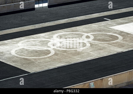 Olympic rings in the Panathenaic stadium - Stock Photo