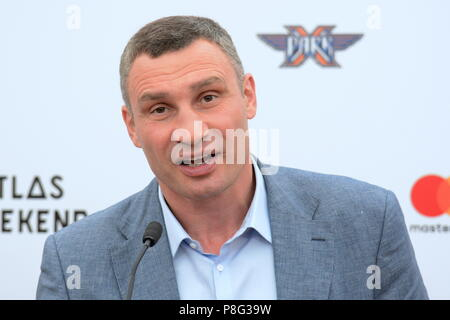 Kiev, Ukraine. 03rd July, 2018. Mayor of Kiev Vitali Klitschko at a news conference on the occasion of the opening of the Atlas Weekend 2018 musical festival. Credit: Alexandr Gusev/Pacific Press/Alamy Live News - Stock Photo