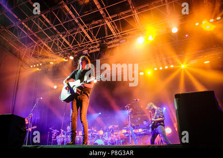 Turin, Italy. 10th July, 2018. Italian songwriter Motta performs live in Turin opening the flowers festival. Credit: Daniele Baldi/Pacific Press/Alamy Live News - Stock Photo