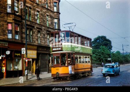 Glasgow Tram No 488 near Partick on route 9 Image taken on 22/05/1961 - Stock Photo