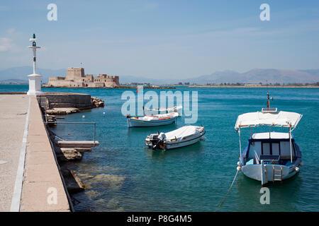 Harbour and Fortress island Bourtzi, Nafplio, Argolis, Peloponnese, Greece, Nauplia, Nauplion, Nafplion, Bourtsi, port - Stock Photo