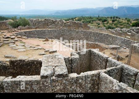 Grave Circle A, Mycenae, Argolis, Peloponnese, Greece - Stock Photo