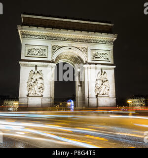 Arc de Triump at night, Paris, France - Stock Photo