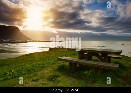 Picnic table in Iceland - Stock Photo
