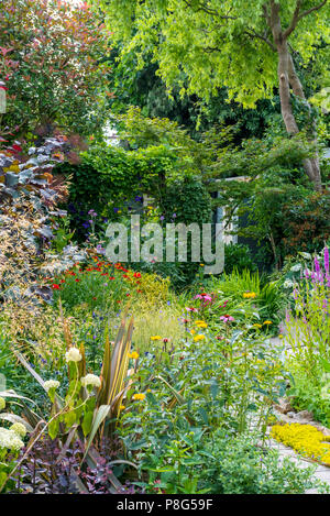 Herbaceous border with mixed planting of perennials. Cottage garden border - Stock Photo