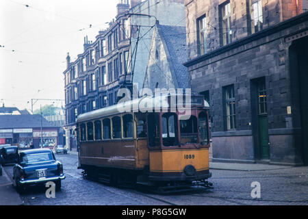Glasgow Tram no. 1089 single deck at Partick Depot on 22/05/1961 - Stock Photo